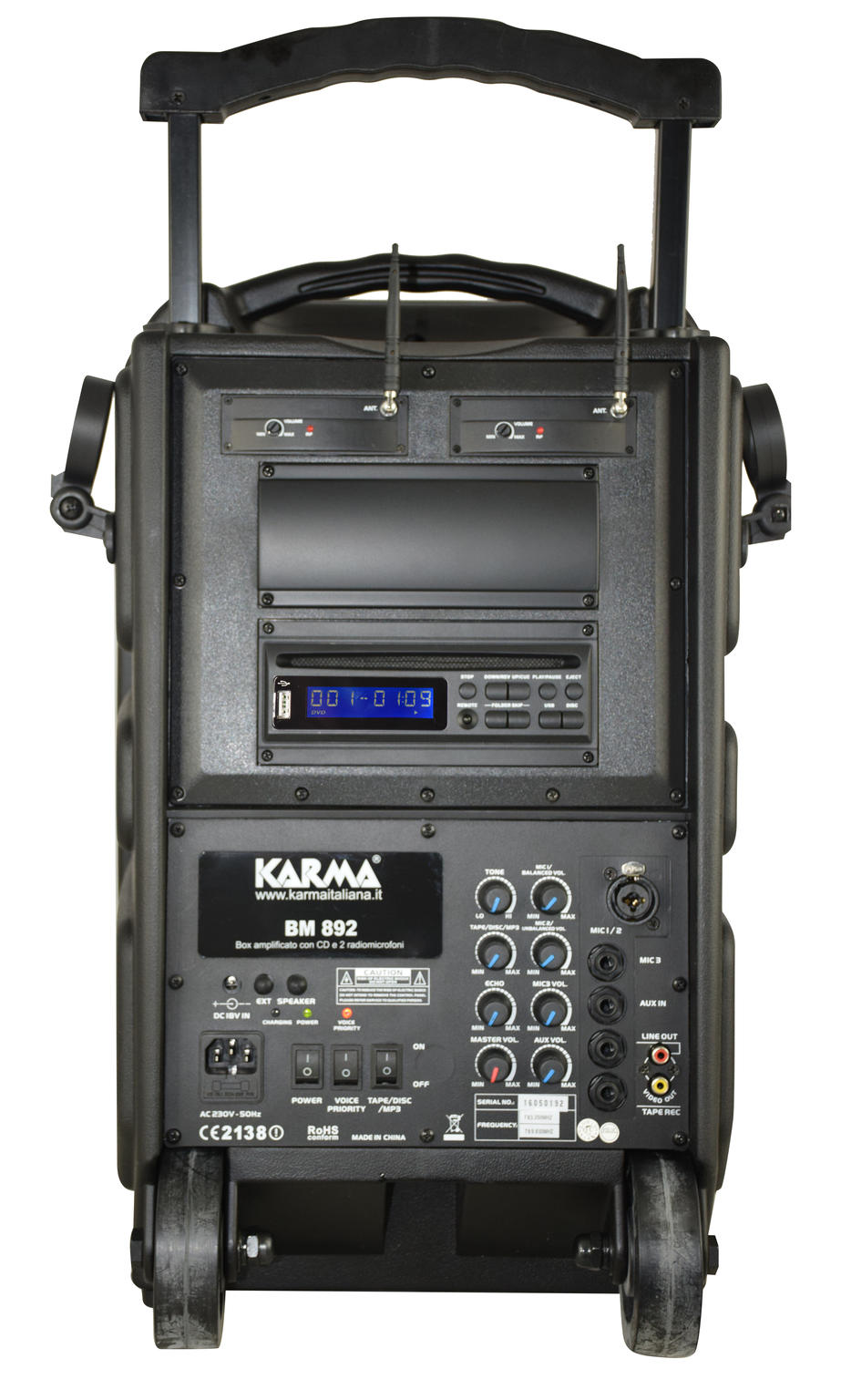 karma bm 892 100w haut parleur amplifi avec 2 microphones sans fil overload. Black Bedroom Furniture Sets. Home Design Ideas